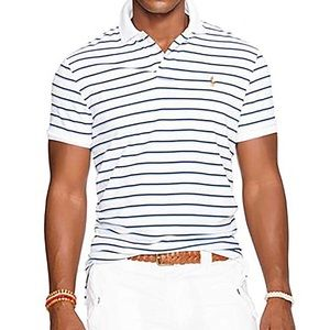 Polo Ralph Lauren • Soft Touch Pima Cotton Short Sleeve Polo In Navy Stripe Sz L
